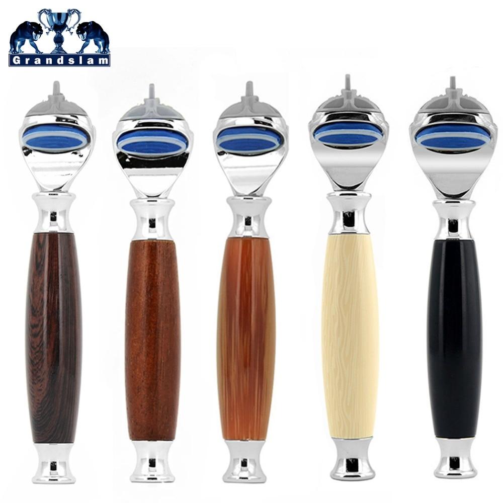 Grandslam Men Shaving Safety Razor Cartridge Shaver 5 Layer Blades Holder Handle with F5 Razor Connector Head
