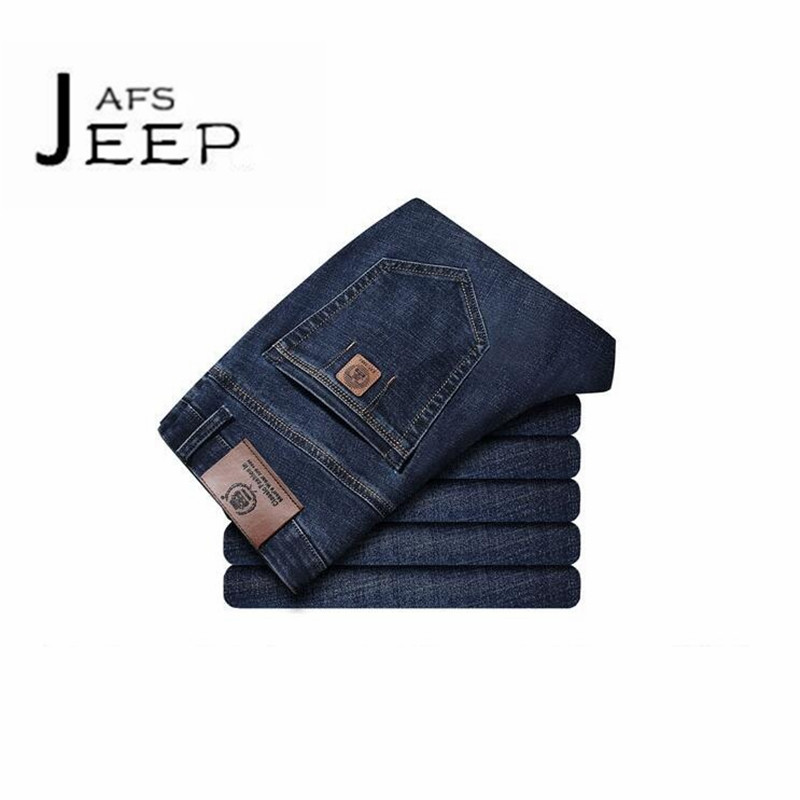 AFS JEEP Autumn Man's Blue Denim Jeans,Mid Waist Thickness Cotton Man's Deportes elasticity Denim trousers,motorcycle bottoms afs jeep chariot 2016 autumn man s denim cotton jeans back pockets fashion man s leisure mid waist jeans fall cow boy s jeans