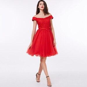 Image 5 - Dressv כבוי כתף קוקטייל שמלה שחור ללא שרוולים הברך אורך קו תחרה עד שיבה הביתה קצר קוקטייל שמלות