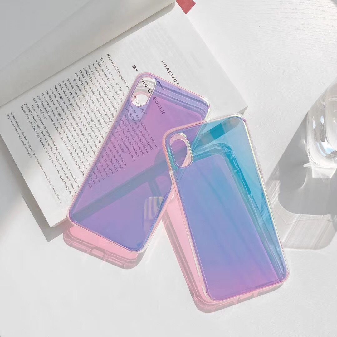 Glossy Gradient Colorful Aurora Transparent Mirror Hard Thin Phone Case For IPhone XS