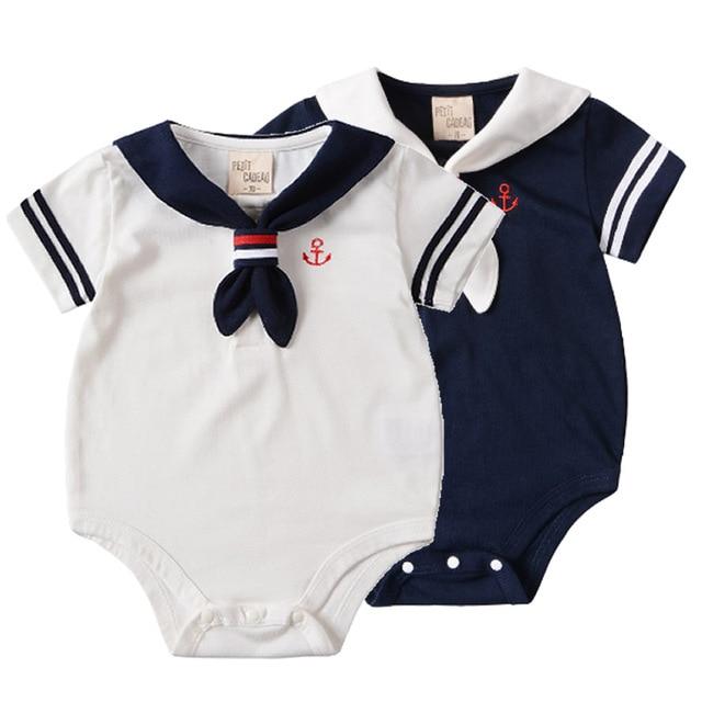 0-2A estilo macacão de bebê macacão de bebê de manga Curta uniformes de  Marinheiro b2a0d76d2df