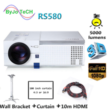 ByJoTeCH RS580 5000 lumens Full HD LED projector 1080P home theater With 10m HDMI Curtain Wall Bracket 3D Proyector