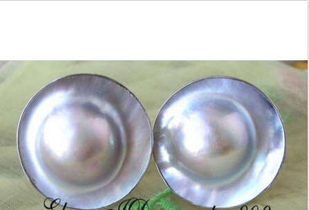 FREE shipping> >>>REAL NATURE 20MM GRAY SOUTH SEA MABE PEARL EARRING 925SILVER