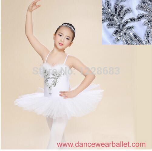 Hot Sale Sequin Pancake White Swan Lake Ballet Costume Tutu Girls Ballerina Dress Kids Danse Classique Balet Girls Ballet Tutu