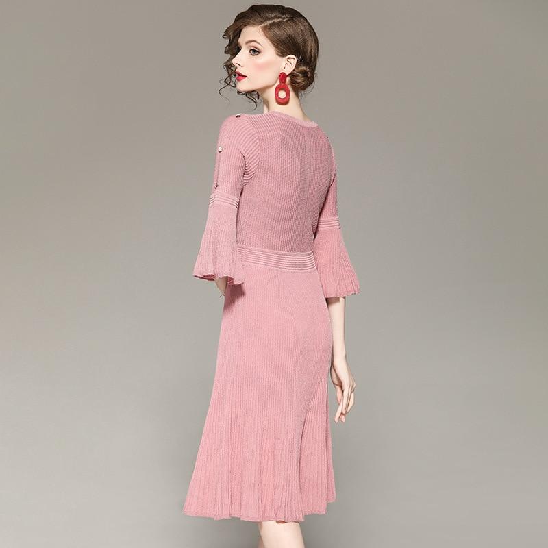 2019 Spring Summer Corset Brief Knitted Dress Women Solid Pleated Fashion Formal Dress Women Elegant Vestidos De Festa Longo in Dresses from Women 39 s Clothing