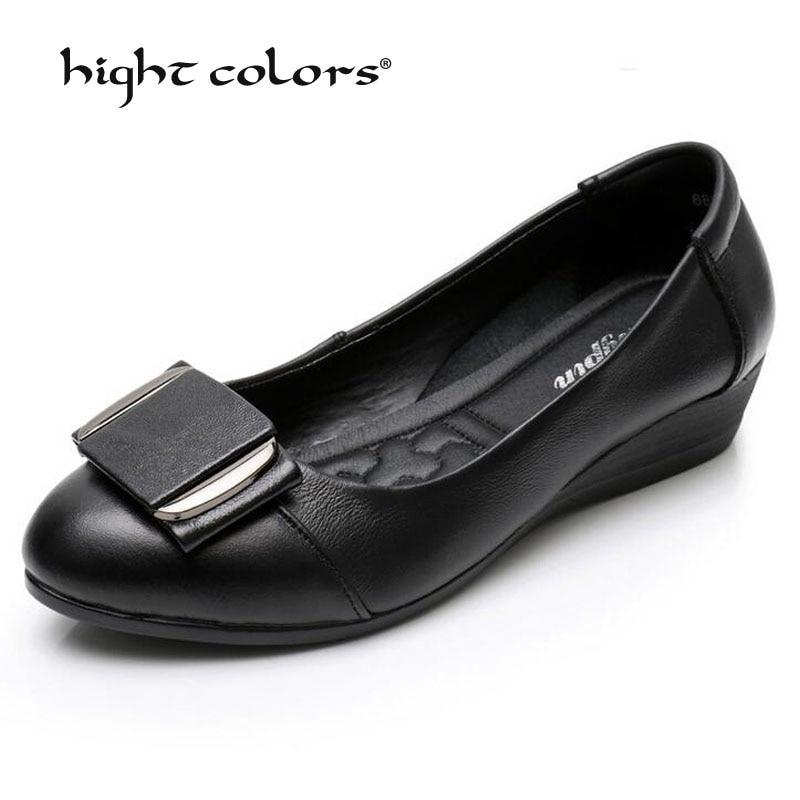 2019 г. хит продаж, весенне осенняя женская обувь из натуральной кожи на танкетке черные офисные туфли на каблуке повседневные женские туфли лодочки zapatos mujer PF21 8, Размеры 35 41