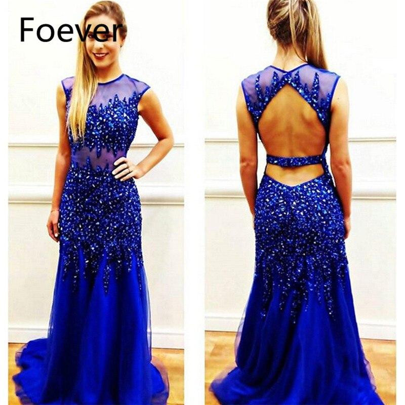 7be7e17a0 Lujos 2019 Promoción de sirena vestido de diamantes de imitación cristales  sin respaldo vestido Royer azul tul vestido de fiesta vestidos de baile ~  Hot ...