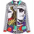 Vintage Chiffon Blouse,Graffiti Print Long Sleeve Loose Tops Pullover Shirt Women Casual shirt