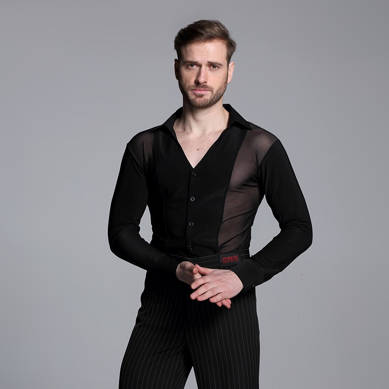 Picture of Black Ballroom Dance Shirt Mens Latin Shirt Mens Ballroom Shirts Mens Latin Dance Costumes Dance Top Male Ballroom Dancewear