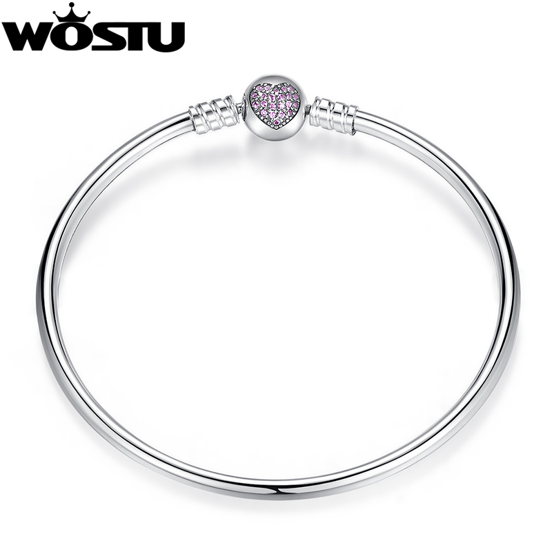 Authentic 100% 925 Sterling Silver Bangle Fit Gelang Charm Bead Bangle untuk Perhiasan Mewah Wanita Pulseira Asli XCHS904