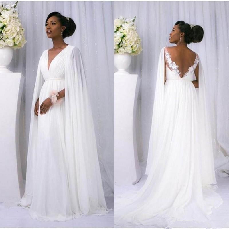 Goddess Wedding Gown: 2019 New Flowey Beach Wedding Dresses With Cape Full Lace