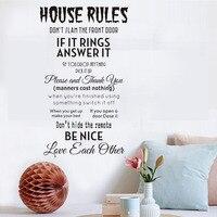 לא סלאם חוקי הבית ויניל נשלף DIY מדבקות קיר מקל סלון קיר קיר בית תפאורה אופי לחזית דלת