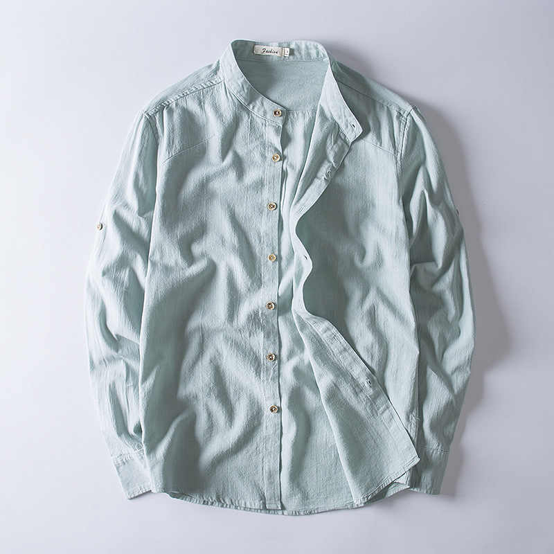 62a584b6ce6 summer 2018 the new men s Chinese wind linen cotton long sleeve shirt  leisure cultivate one s morality