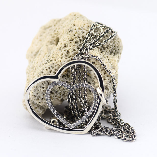 Fits Europe Brand Silver Heart to Heart Pendants and Necklaces for Women 925 Sterling Silver Fashion Jewelry Wholesales FLN15008