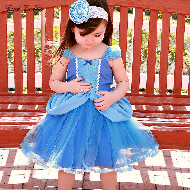 Jane Z Ann Baby girl Cinderella costume infant toddler 4 types princess dress performance halloween outfits photography props