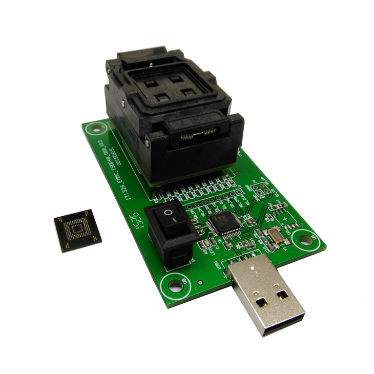 EMMC153/169 Socket With USB Nand Flash Test Socket Pin Pitch 0.5mm For BGA169 BGA153 Testing Clamshell Structure