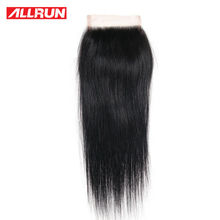 "ALLRUN 4 * 4 Straight Brazilian Hair Lace Closure Ulike Størrelse 10 ""-20"" Non-Remy Hair Natural Color 100% Straight Human Hair"