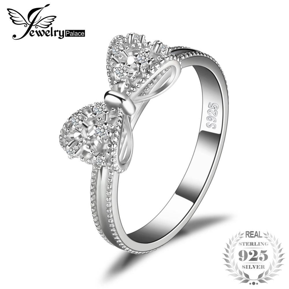 16ed3b28b JewelryPalace Bow Anniversary Wedding Ring For Women Soild 925 Sterling  Silver Jewelry For Girl Party Friend