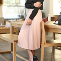 Nueva moda 2017 grandes faldas oscilantes tutu adultos primavera gasa del todo-fósforo falda Departamento de pliegue de la cintura delgada plisada delgada del verano