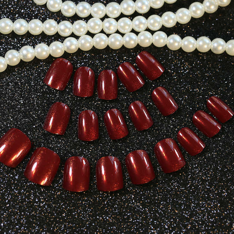 Foreverlily głębokie krwi czerwony fałszywe paznokcie krótkie 24 sztuk pełne sowa paznokci porady owalne popularne akrylowe wzornictwo chińskie uroczy paznokci narzędzie artystyczne