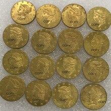 Соединенные Штаты Америки золото 1851$1 один 1 доллар свободы голова тип 1 латунь металл копия монеты 10 шт. посылка продано