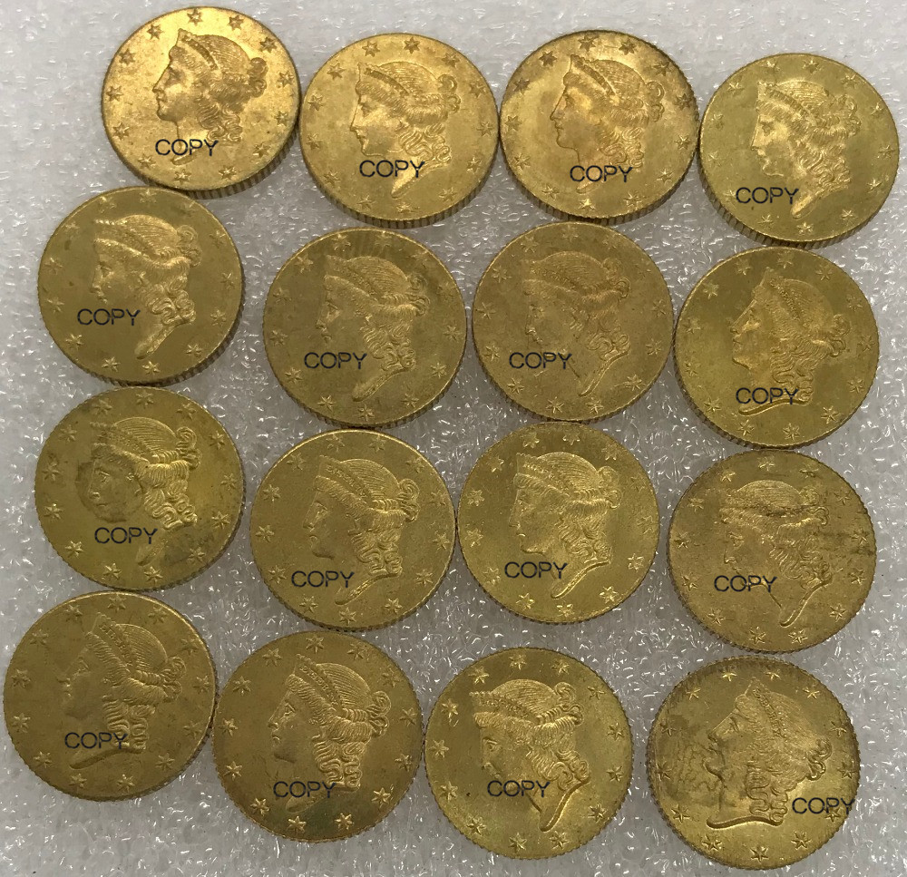 Untied States Of America Gold 1851 $1 One 1 Dollar Liberty Head Type 1 Brass Metal Copy Coins 10 Pcs A Package Sold