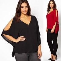 2016 New Fashion Stylish Lady Women Casual Sexy Women V-Neck Plus Size Batwing Sleeve Blouse Chiffon Shirt Blusa Top wholesale