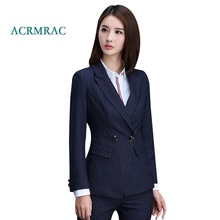 ACRMRAC Women's suits 2018 New Autumn And Winter stripe Slim Double Breasted Blazers pants Business OL Formal Pants Suits
