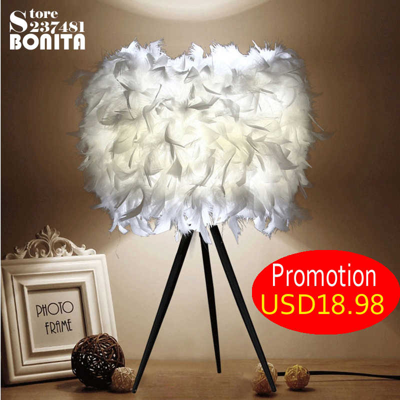 Thick feather light, is the love of warm home! Feather reading lamp bedside desk lamp bedroom Small  table light