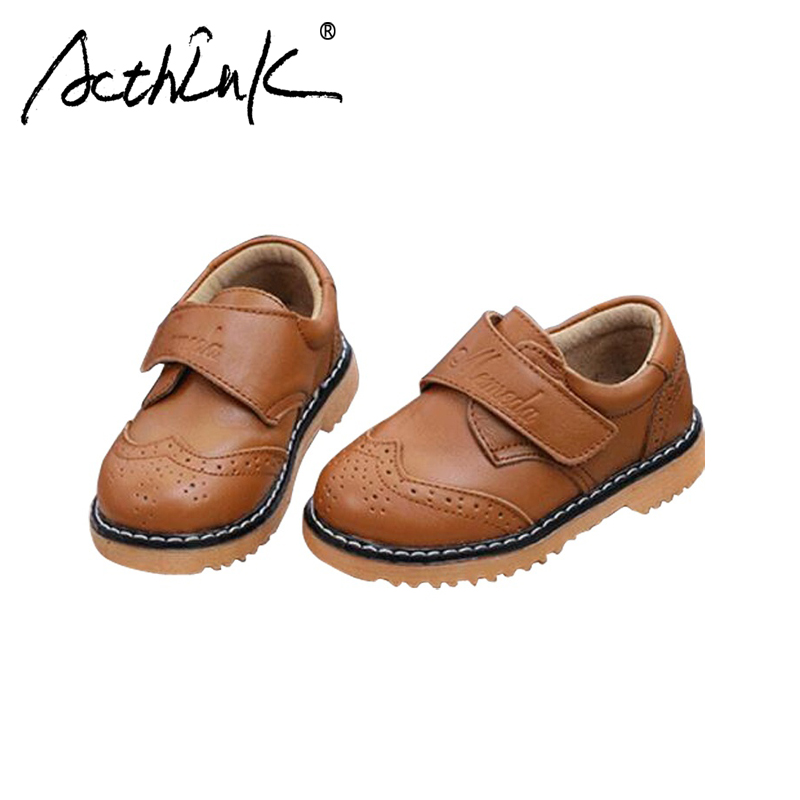 ActhInK New Design Baby Boys Geniune Leather Shoes Children Formal Wedding Leather Shoes British Style Boys Brogue Shoes, TS014