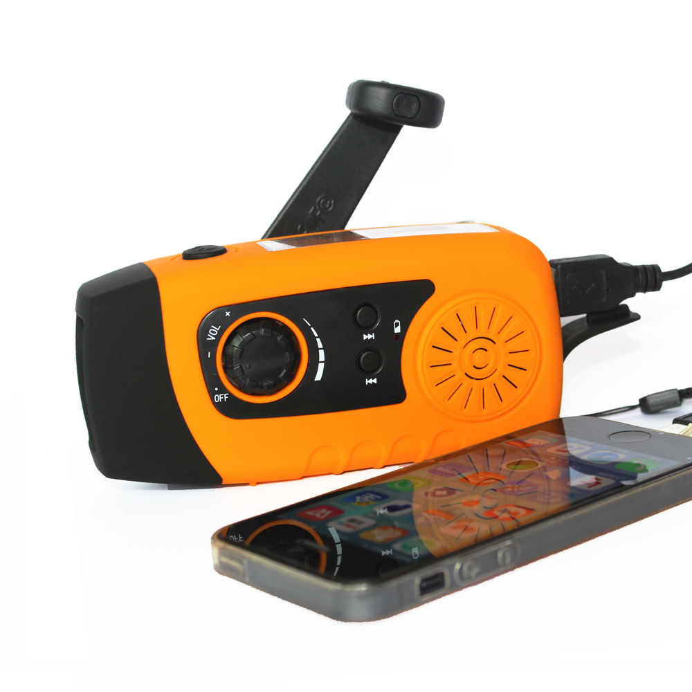 Protable FM radio Hand Crank Generator Solar power radio with flashlight 2000mah phone charger