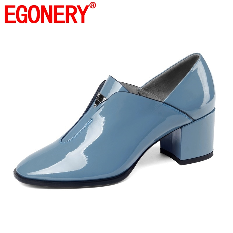 EGONERY slip on outside women lady pumps women shoes new fashion patent leather high hoof heel