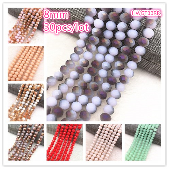 NEW 30pcs/lot 8x6mm Rondelle Austria Faceted Crystal Glass Beads,Wheel Beads,Transit Beads,For Bracelet Necklace Jewelry Making|Beads| - AliExpress