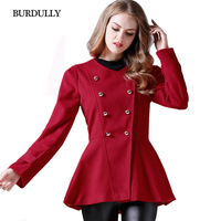 BURDULLY Winter Jacket Women 2017 Fashion Spring Autumn Coat Short Slim Ladies Double Breasted Jackets Red