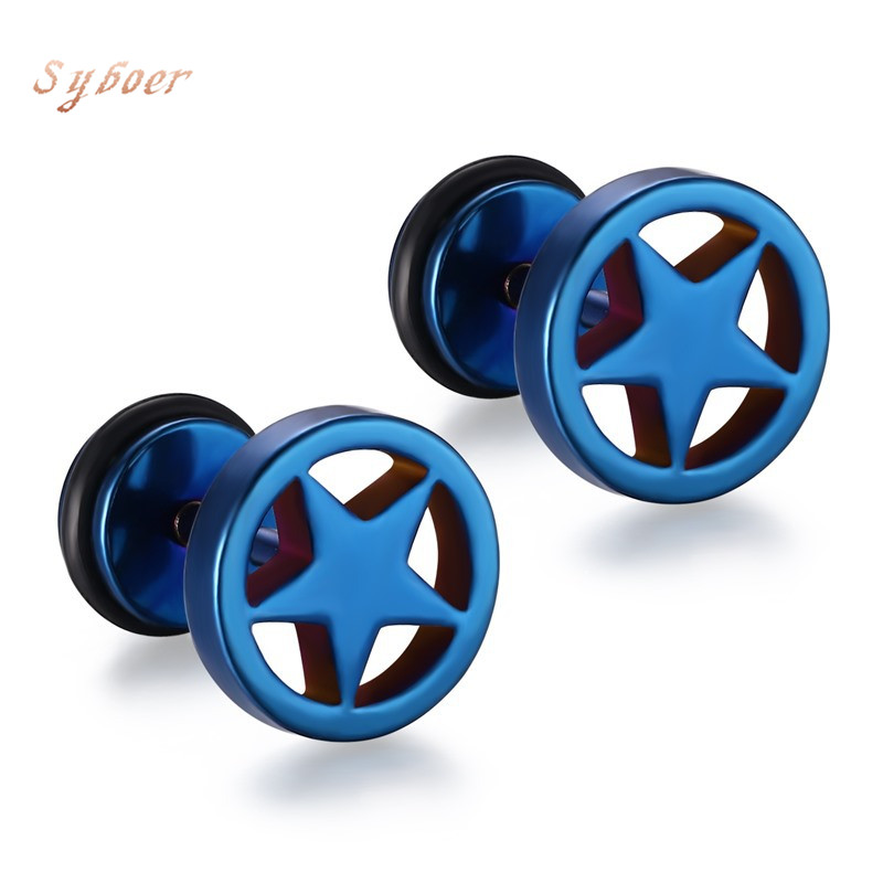 Syboer puck rock men earrings korean fashion oorknopjes stainless steel jewelry boyfriend gift pentagram pendientes hombre