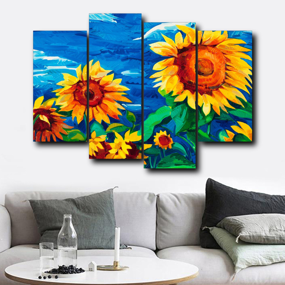 Modern Canvas Print Sunflower Wall Painting Picture Poster Home Decoration 4pcs
