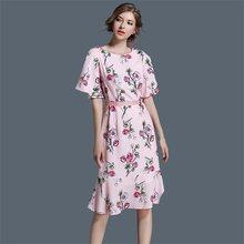 f1804fea45 New Summer Leisure Dress Women Printed Vestidos Sexy O-Neck Cinch Waist  Slim Work Dress Casual Office Business Dresses