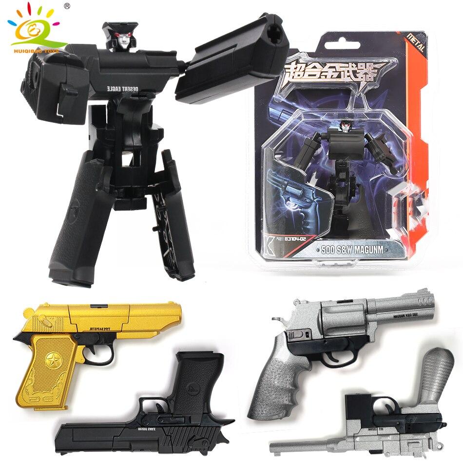 HUIQIBAO juguetes armas transformación Águila del desierto arma Robot de Metal de aleación de acción figuras de juguete juguetes para niños de 8 estilo