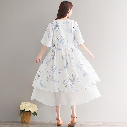 7b97a0f7a1f8 Mori Girl 2018 Summer Vintage Floral Printed Dresses For Women Japanese  Elegant Dress Boho Sweet Chiffon Midi Dress Vestidos-in Dresses from  Women s ...