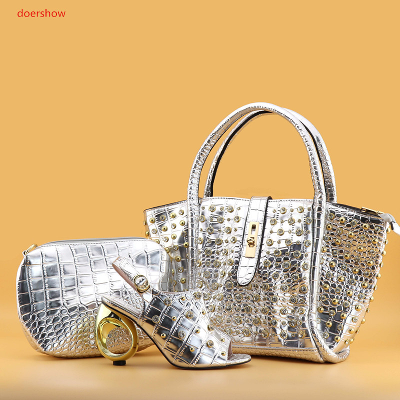 doershow African silver Shoes and Bag Set Italian Shoes with Matching Bags High Quality Women Shoe and Bag To Match PAN1-4 fashion italy design italian matching shoe and bag set african wedding shoe and bag sets women shoe and bag to match tmm1 41