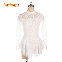 Nasinaya Black Figure Skating Dress Long Sleeved Ice Skating Skirt Spandex