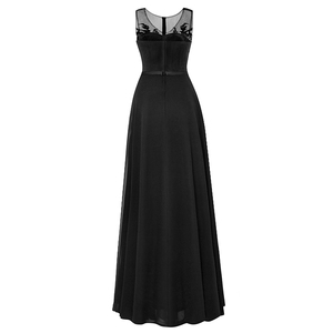 Image 2 - Tanpell long scoop evening dress black sleeveless appliques beaded a line floor length gown cheap women party prom evening dress