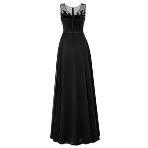 Image 2 - Tanpell uzun scoop akşam elbise siyah kolsuz aplikler boncuklu bir çizgi kat uzunluk elbise ucuz kadın parti balo gece elbisesi