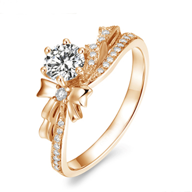 9K Rose Gold 1CT Round Cut Moissanites Diamond Wedding Engagement Ring
