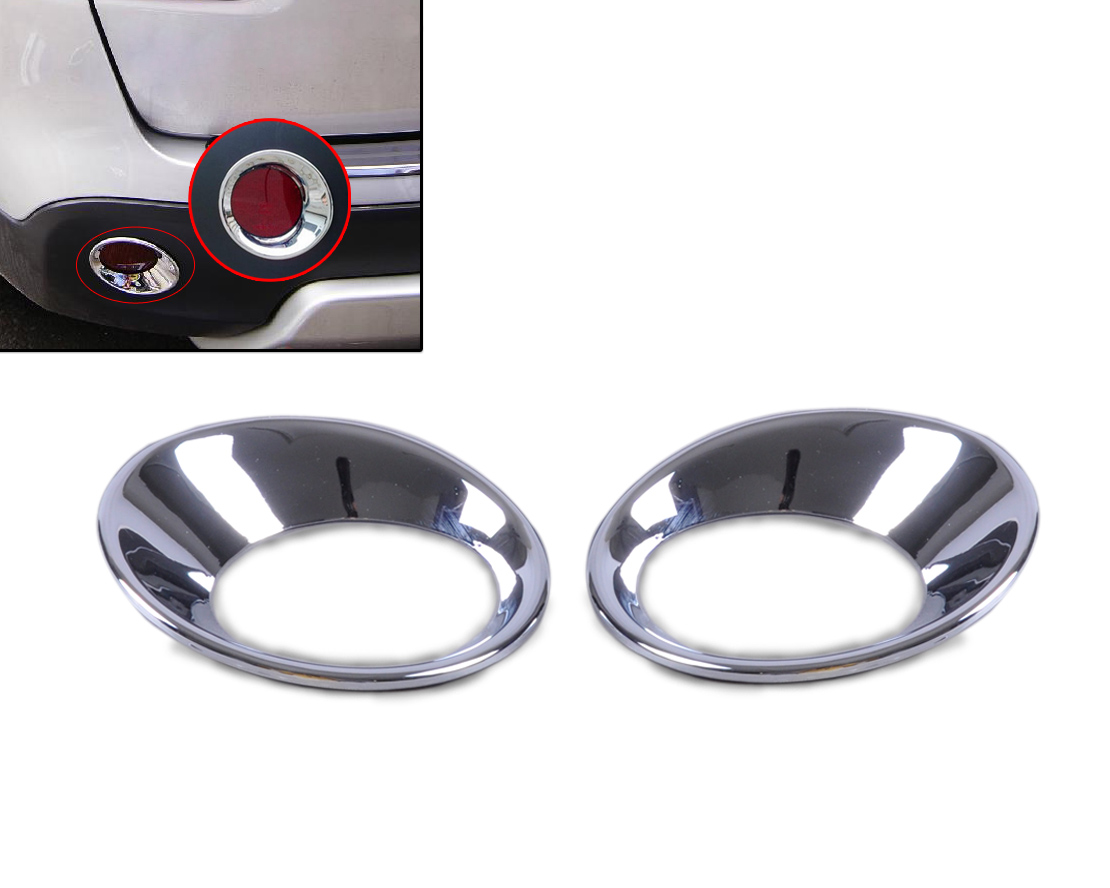 DWCX 2x Car Stying High Grade CHROME Rear FOG LIGHTS LAMP FRAME COVER TRIM FOR Nissan Qashqai 2007 2008 2009 2010 2011 2012 2013