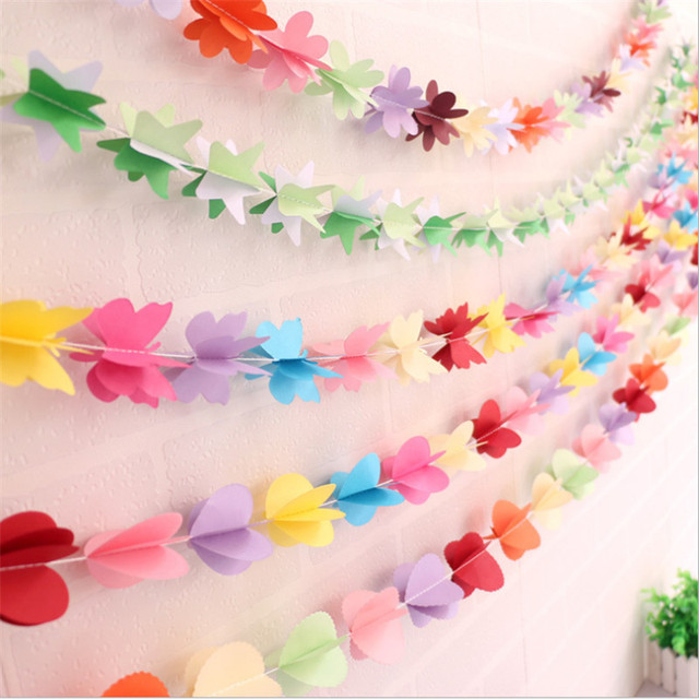 1 8m Wall Hanging Paper Star Garlands Pull Flowers Three Dimensional Diy Erfly Wedding