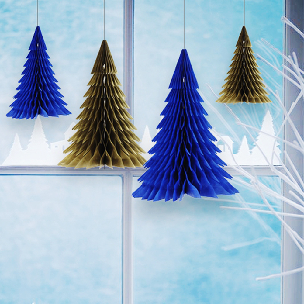 aliexpresscom buy 1pc navygold honeycomb christmas tree decorations tissue paper tree table centerpiece for xmas home festival decor from reliable - Navy And Gold Christmas Decorations