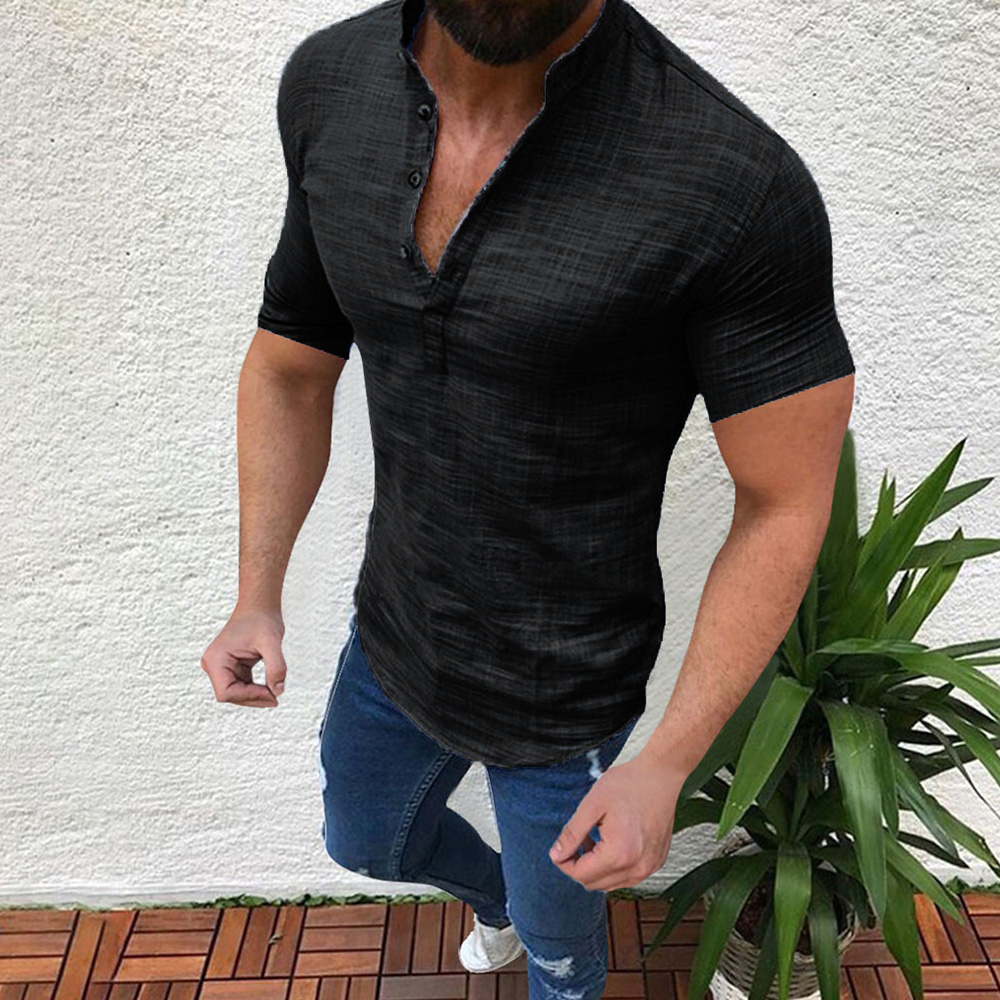 Mandarin Collar Casual Men's T-Shirt Short Sleeve Solid Tops Pervious Cotton Linen Man's Loose Tee Lightweight Male Clothing D40