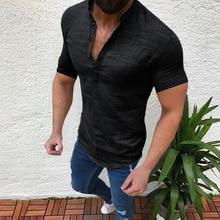 Mandarin Collar Casual Men's T-Shirt Short Sleeve Solid Tops Pervious Cotton Linen Man's Loose Tee Lightweight Male Clothing D40 casual drawstring mandarin collar t shirt