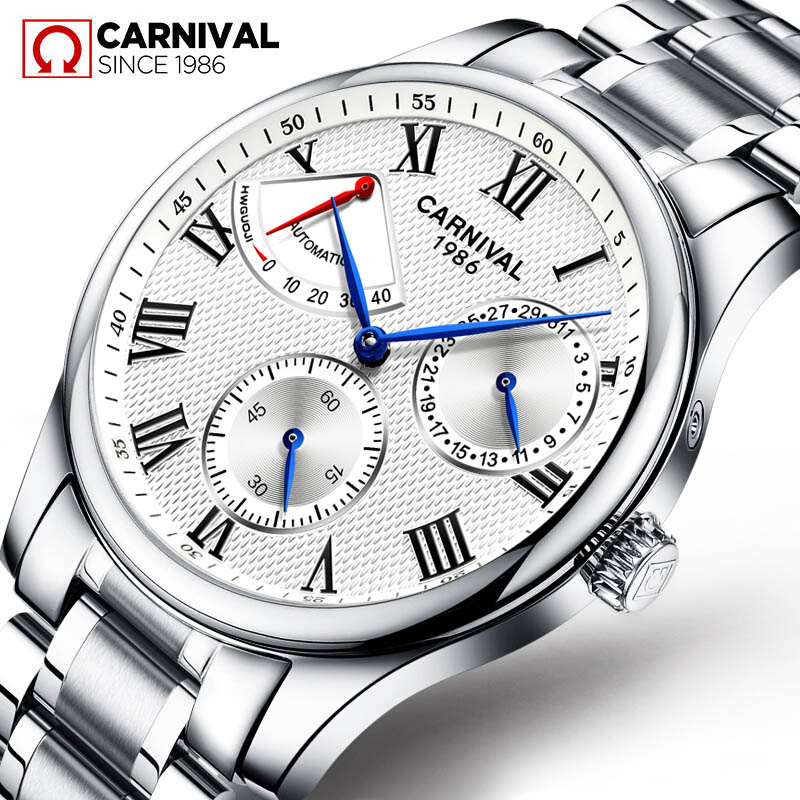 Seiko Automatic Movement Carnival Top Brand Luxury Men Mechanical Watch relogio masculino Clock Stainless Steel Strap Men Watch-in Mechanical Watches from Watches